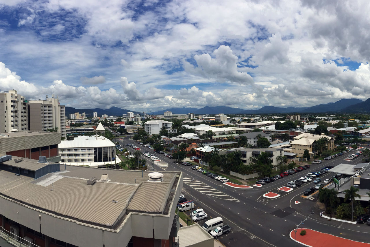 A view of the Cairns skyline from the top of B block.